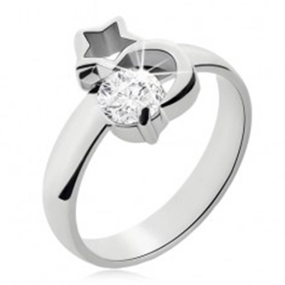Šperky eshop Oceľový prsteň striebornej farby, mesiac, obrys hviezdy a číry zirkón - Veľkosť: 49 mm