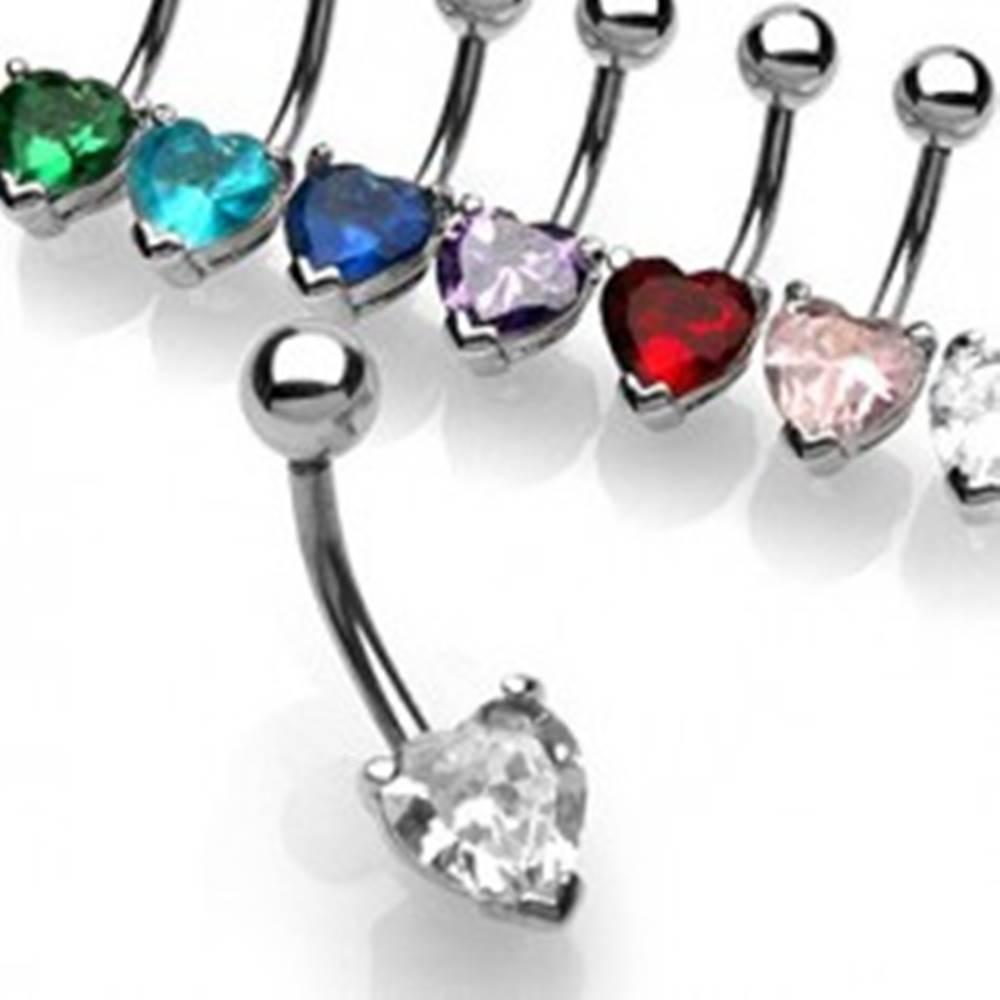 Šperky eshop Piercing do bruška banán zirkón - srdce - Farba zirkónu: Aqua modrá - Q