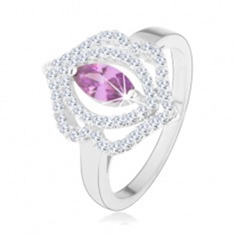 Šperky eshop Prsteň, striebro 925, zirkónové zrnko - tanzanitový odtieň, dvojitá obruba - Veľkosť: 49 mm