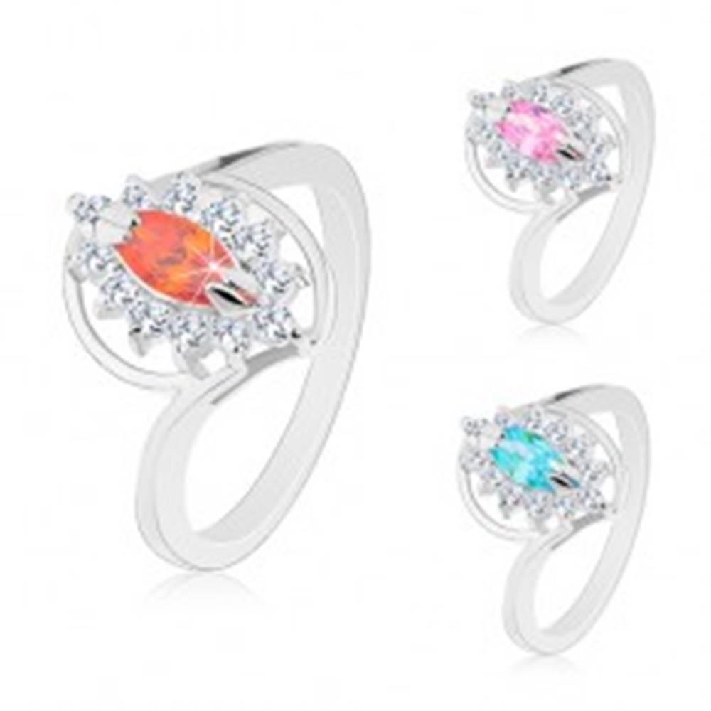 Šperky eshop Prsteň v striebornom odtieni, brúsený zrnkový zirkón, číra obruba - Veľkosť: 49 mm, Farba: Ružová