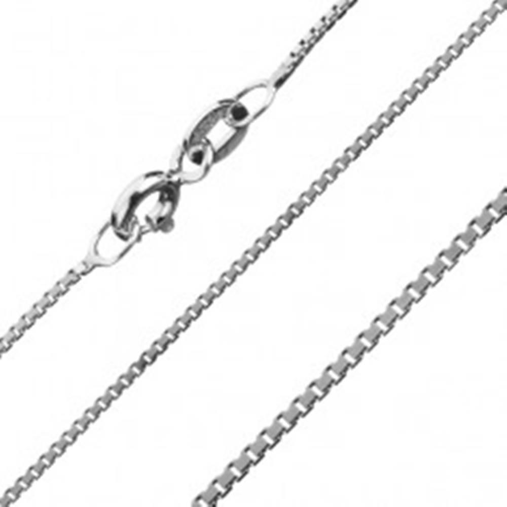 Šperky eshop Retiazka zo striebra 925 - malé spojené štvorčeky, 0,9 mm