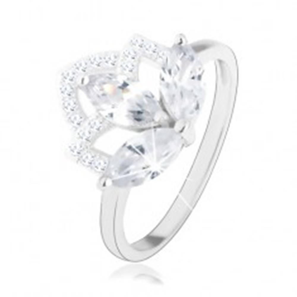 Šperky eshop Ródiovaný strieborný prsteň 925, číry zirkónový kvet s trblietavou korunkou - Veľkosť: 49 mm