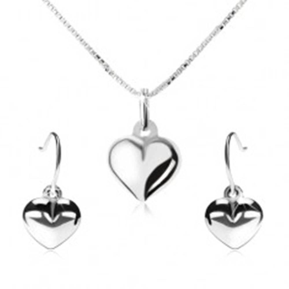 Šperky eshop Strieborná 925 sada - náhrdelník a visiace náušnice, vypuklé srdce