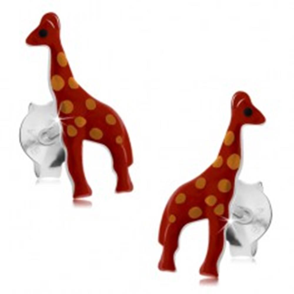Šperky eshop Strieborné náušnice 925, lesklá červená žirafa s oranžovými bodkami, glazúra