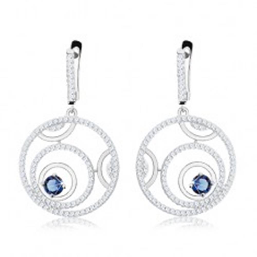 Šperky eshop Strieborné náušnice 925, trblietavé kruhy, modrý okrúhly zirkón