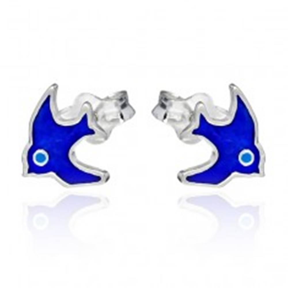 Šperky eshop Strieborné puzetové náušnice 925 - modrý vtáčik