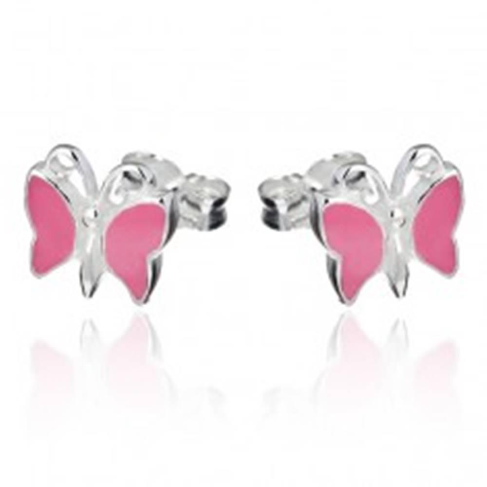Šperky eshop Strieborné puzetové náušnice 925 - ružový motýlik