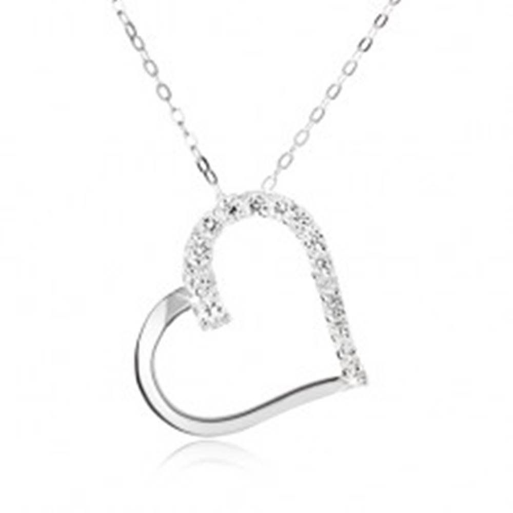 Šperky eshop Strieborný 925 náhrdelník, retiazka a obrys súmerného srdca, číre kamienky