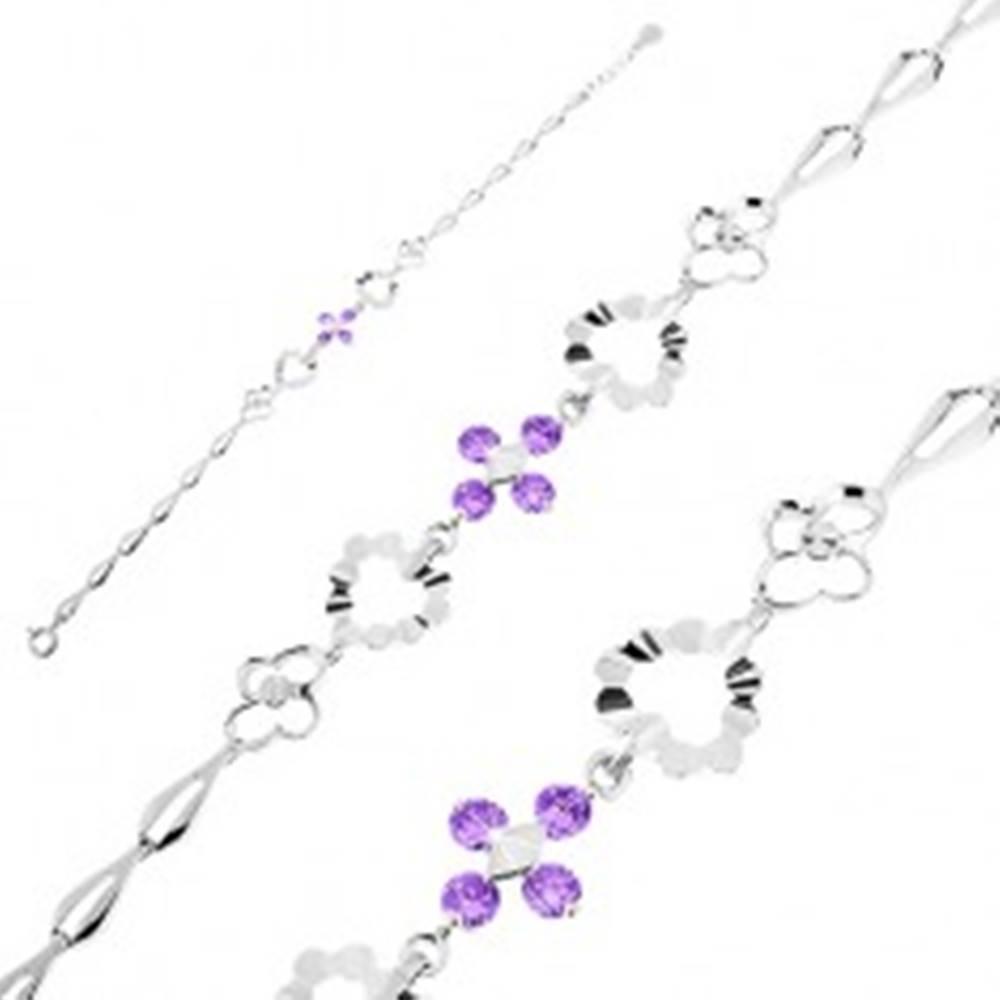 Šperky eshop Strieborný 925 náramok, fialové zirkóny, srdcia, kvietky a slzičkové články