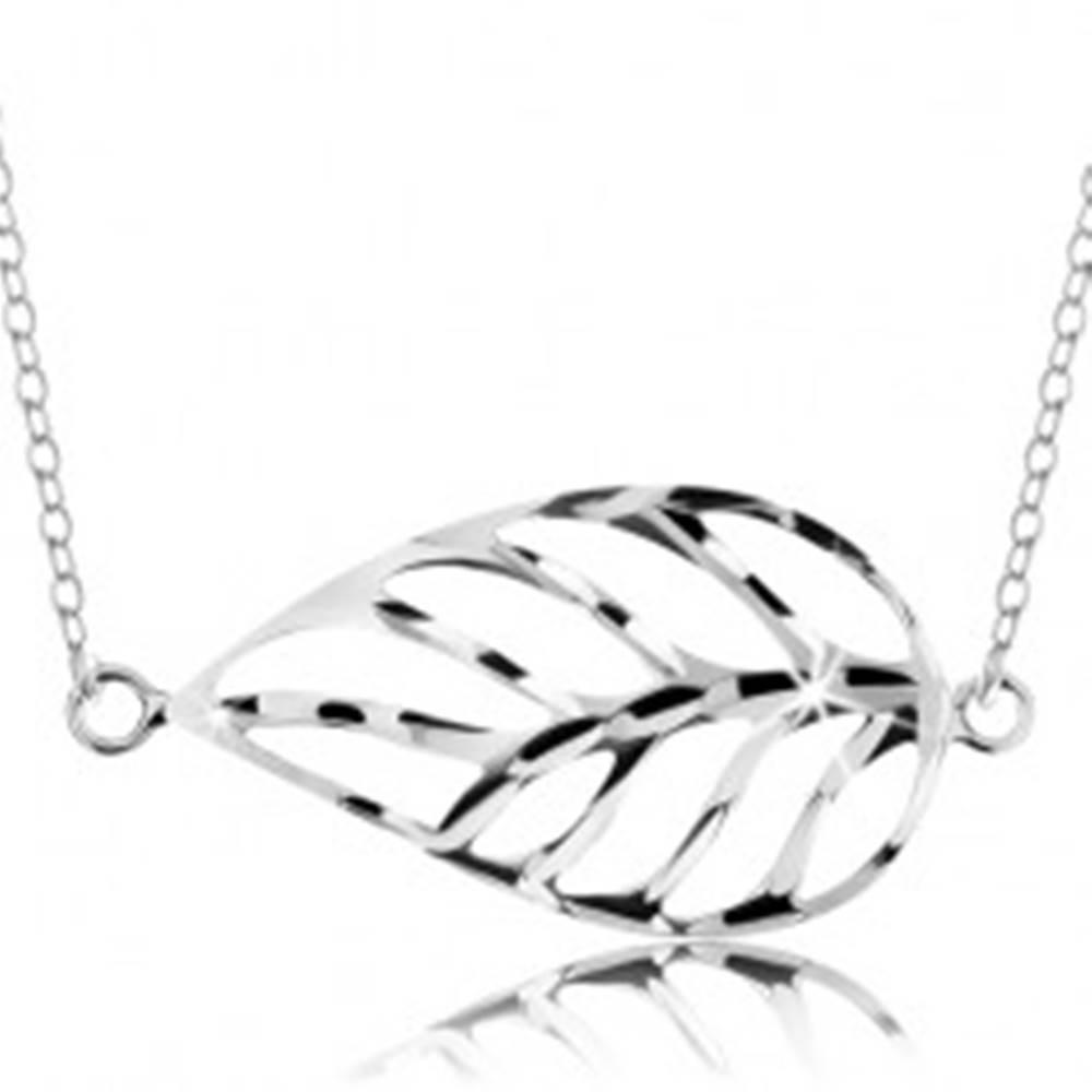 Šperky eshop Strieborný náhrdelník 925, lesklý vyrezávaný list na tenkej retiazke, karabínka