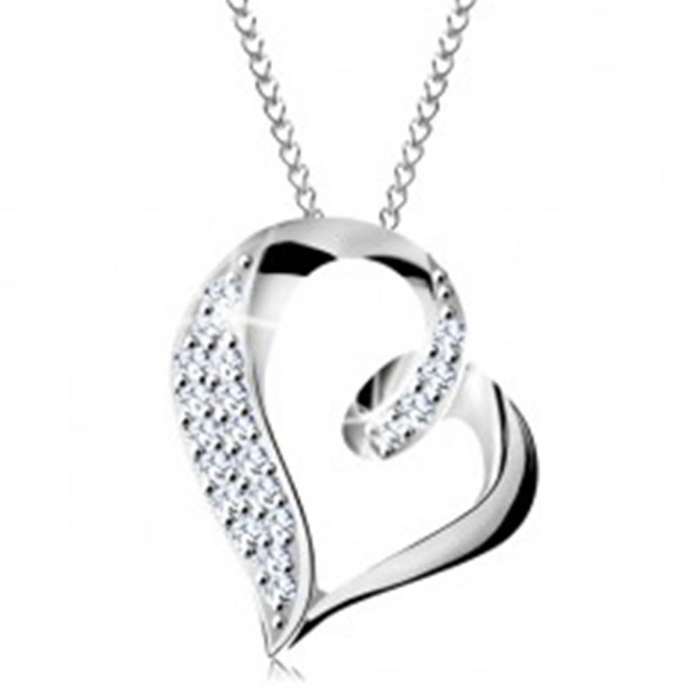 Šperky eshop Strieborný náhrdelník 925, nepravidelná kontúra srdca so slučkou a zirkónikmi