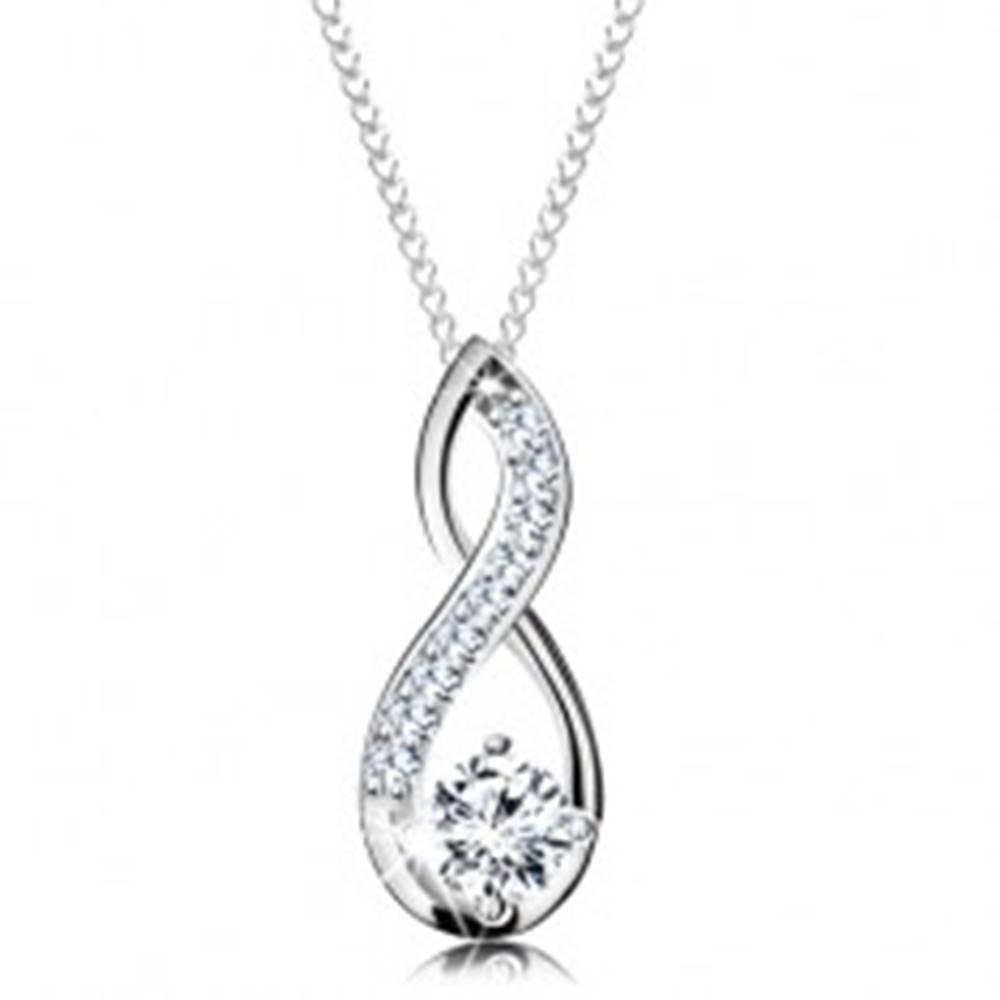 Šperky eshop Strieborný náhrdelník 925, prívesok slučky s okrúhlym čírym zirkónom