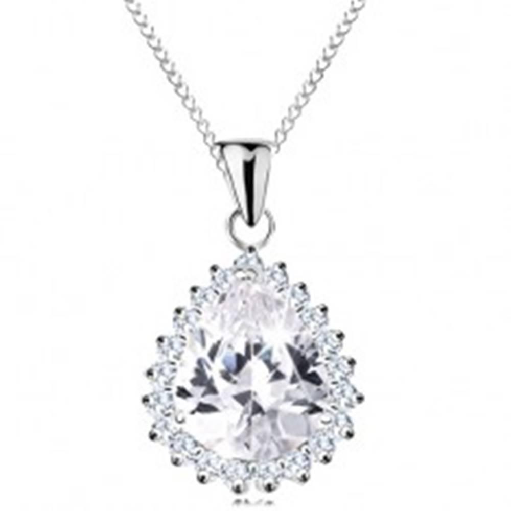 Šperky eshop Strieborný náhrdelník 925, veľká brúsená kvapka čírej farby, ligotavý lem