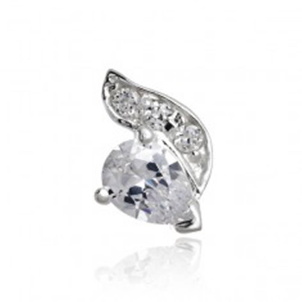 Šperky eshop Strieborný prívesok 925 so zirkónovou slzou vo vlnke