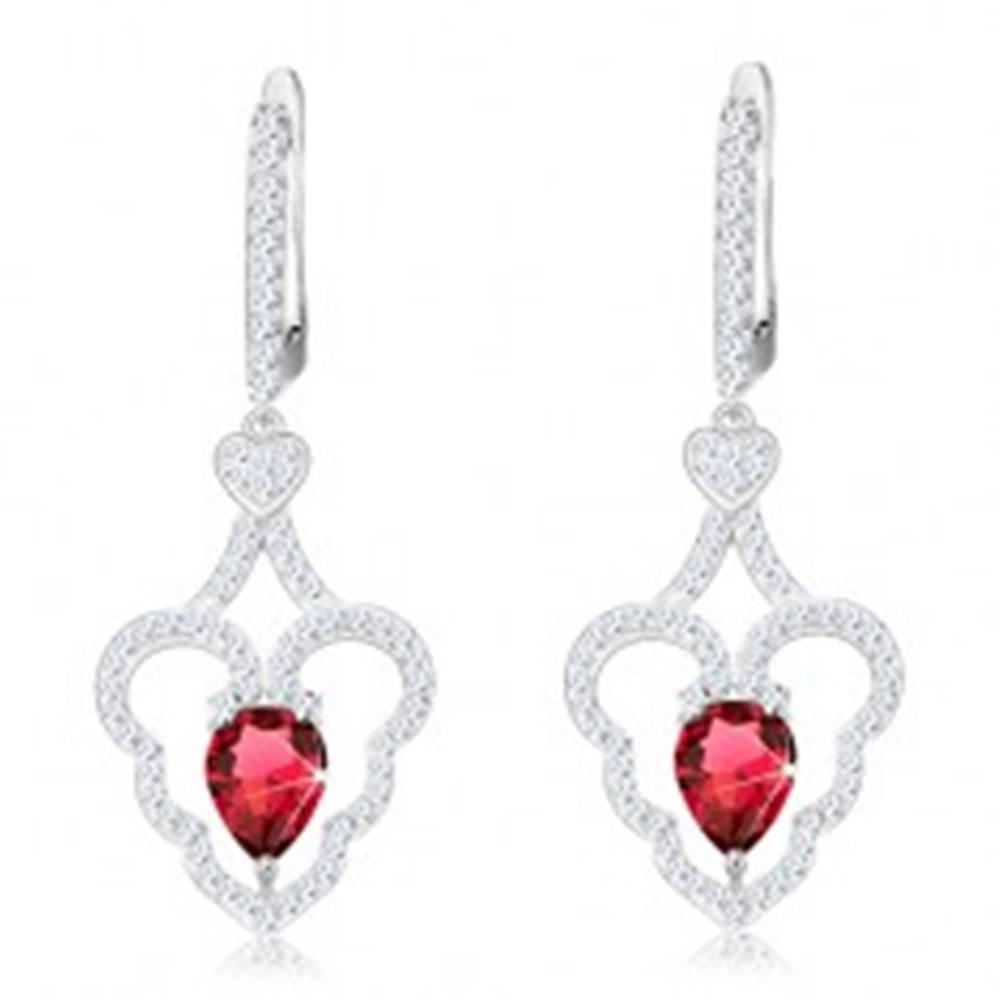 Šperky eshop Trblietavé náušnice, striebro 925, zvlnený obrys srdca, ružová kvapka