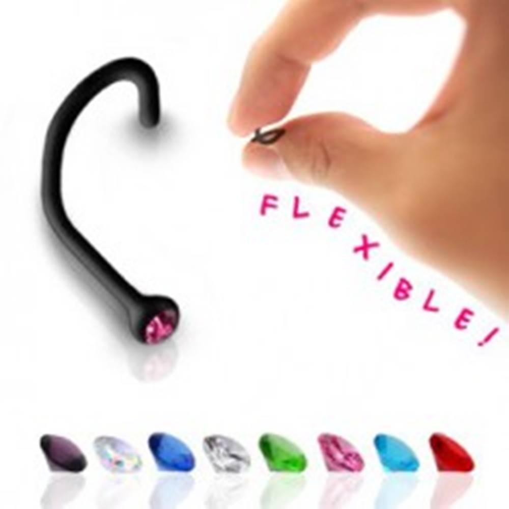 Šperky eshop Zahnutý piercing do nosa z čierneho bioflexu, farebný zirkón - Farba zirkónu: Aqua modrá - Q