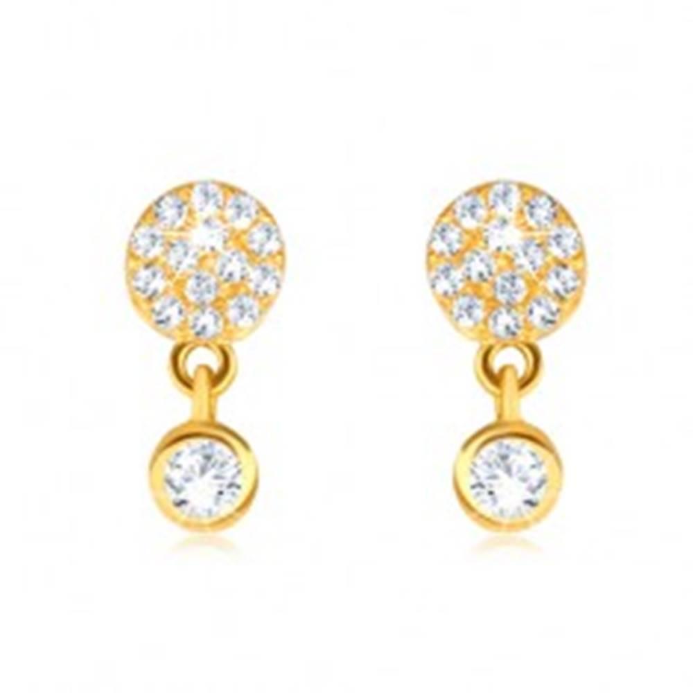 Šperky eshop Zlaté náušnice 375 - menší a väčší kruh z čírych zirkónov