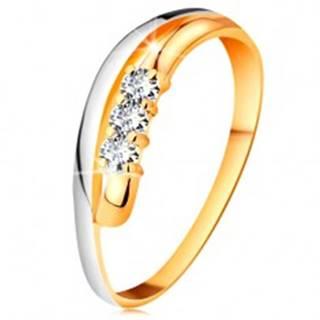 Briliantový prsteň v 14K zlate, zvlnené dvojfarebné línie ramien, tri číre diamanty - Veľkosť: 49 mm