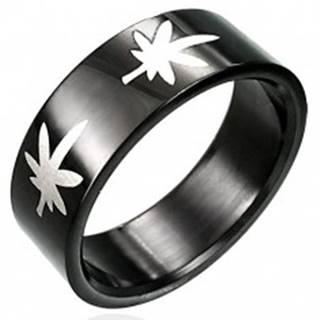 Čierny prsteň s marihuanou - Veľkosť: 54 mm