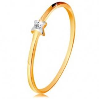 Dvojfarebný zlatý prsteň 585 - hviezdička s čírym briliantom, tenké ramená - Veľkosť: 49 mm