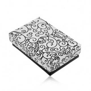 Krabička na set alebo náhrdelník v čierno-bielom prevedení, potlač ornamentov