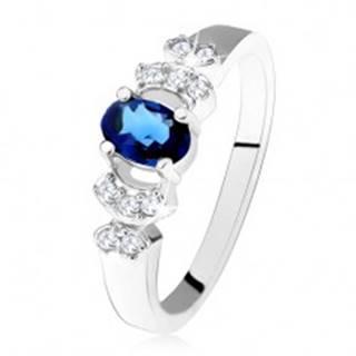 Lesklý prsteň - striebro 925, tmavomodrý oválny zirkón, číre kamienky - Veľkosť: 49 mm
