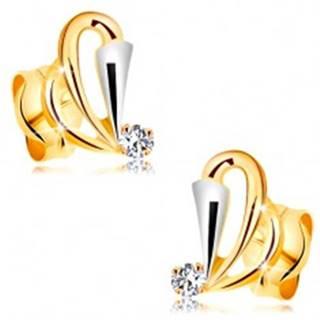 Náušnice v 14K zlate - kontúry slzičiek, rozšírený pás z bieleho zlata a číry zirkón