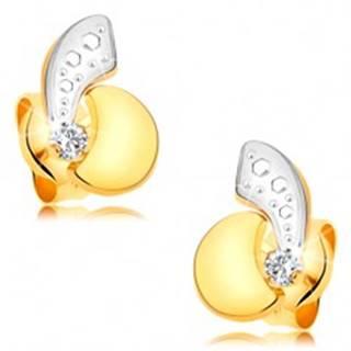 Náušnice zo 14K zlata - asymetrické dvojfarebné oblúčiky a ligotavý číry diamant