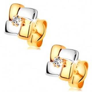 Náušnice zo 14K zlata - dvojfarebné štvorce s brúseným diamantom v strede