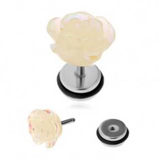 Nepravý akrylový plug do ucha - akrylová ruža s dúhovými odleskami