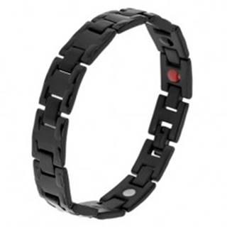 Oceľový čierny náramok s lesklými článkami H, matné spoje, magnety