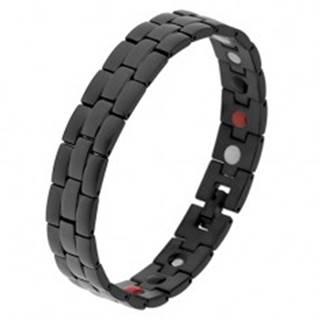 Oceľový náramok čiernej farby, matné a lesklé prúžky, farebné magnety