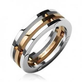 Oceľový prsteň trojitý stredný pruh zlatej farby - Veľkosť: 50 mm