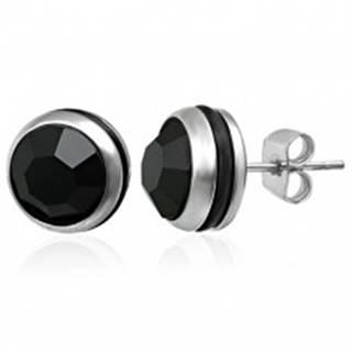 Okrúhle náušnice z ocele 316L s čiernym zirkónom a gumičkou, puzetky