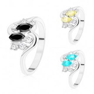 Prsteň so zvlnenými ramenami, strieborný odtieň, farebné zrnká a číre zirkóny - Veľkosť: 50 mm, Farba: Aqua modrá