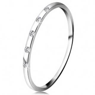 Prsteň v bielom 14K zlate - päť drobných čírych diamantov, tenká obrúčka - Veľkosť: 48 mm