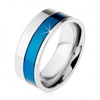 Prsteň z chirurgickej ocele, pásy modrej a striebornej farby, 8 mm - Veľkosť: 57 mm