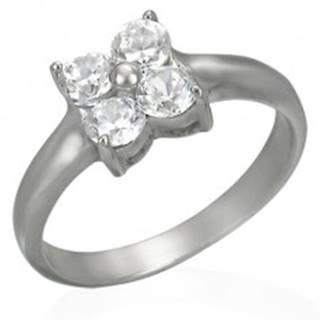 Prsteň z ocele s kvietkom zo zirkónov - Veľkosť: 49 mm