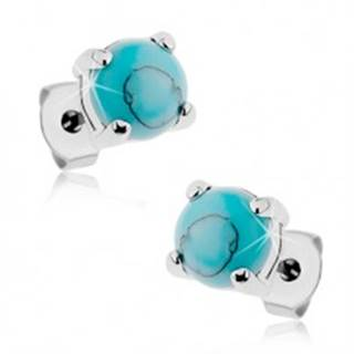 Puzetové oceľové náušnice striebornej farby, okrúhly tyrkysový kamienok - Hlavička: 3 mm