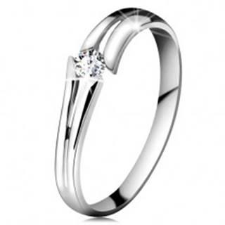 Zlatý prsteň 585 so žiarivým čírym briliantom, rozdelené ramená, biele zlato - Veľkosť: 49 mm