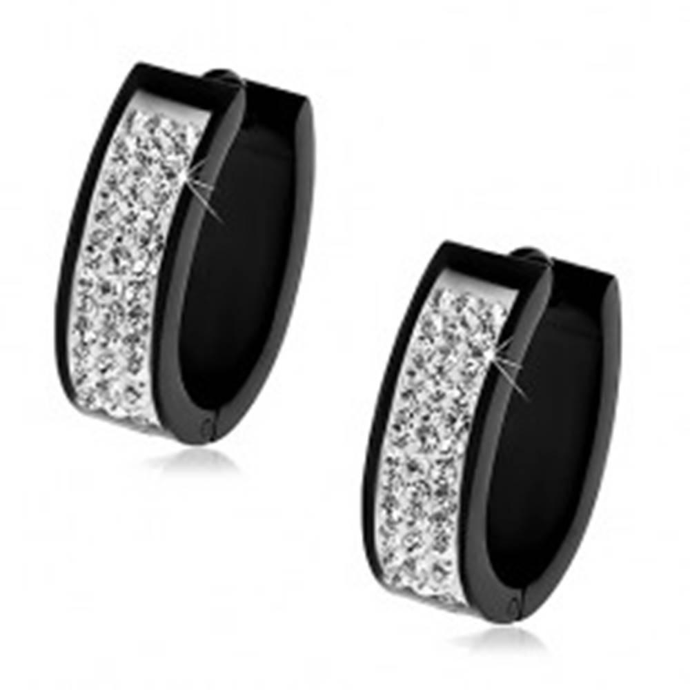 Šperky eshop Čierne oválne náušnice z ocele 316L, pás trblietavých čírych zirkónov