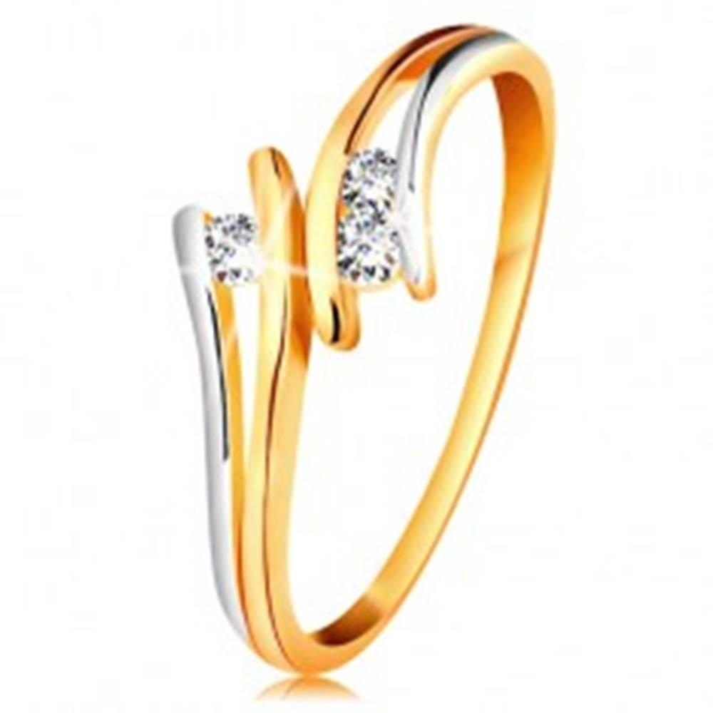 Šperky eshop Diamantový zlatý prsteň 585, tri žiarivé číre brilianty, rozdelené dvojfarebné ramená - Veľkosť: 49 mm