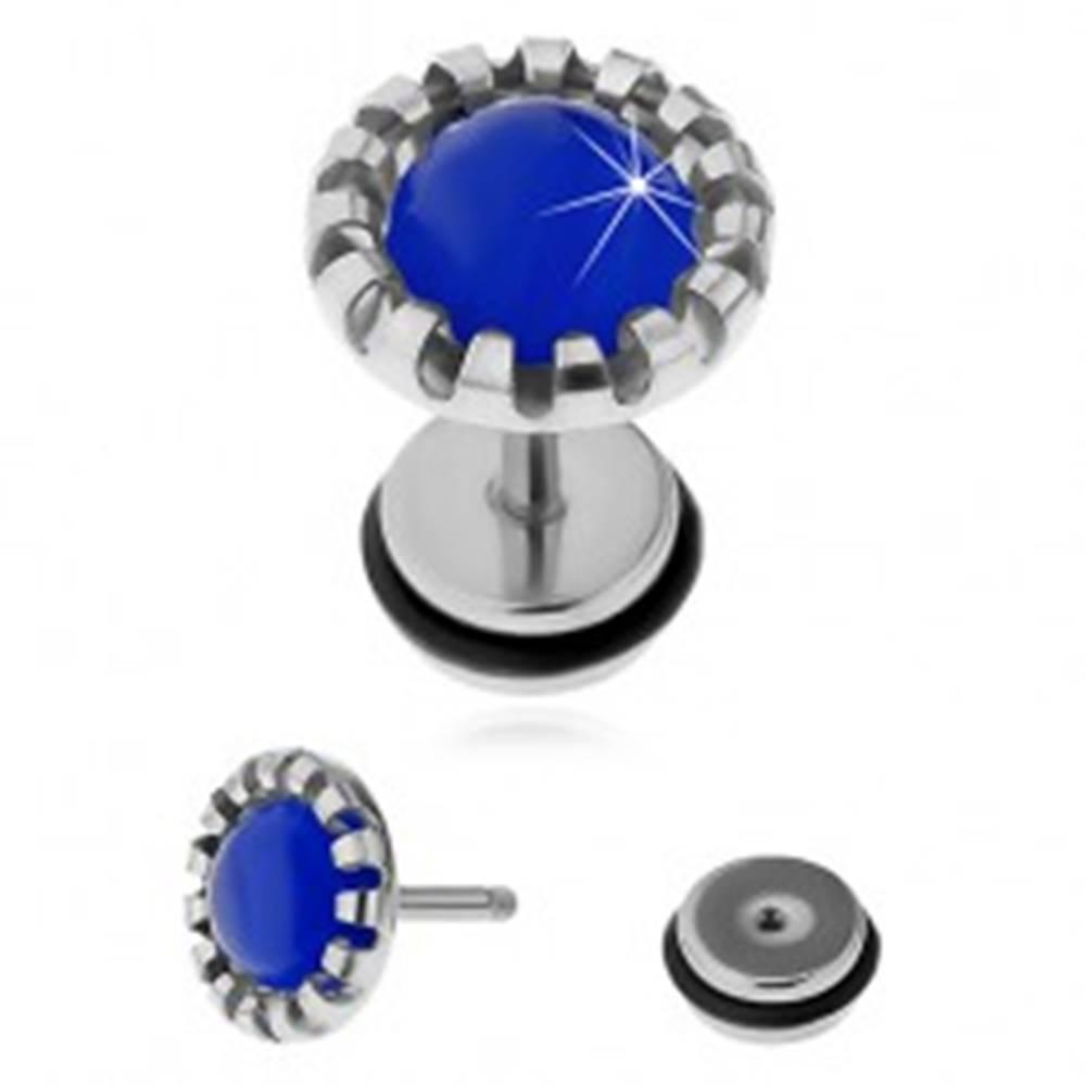 Šperky eshop Fake plug do ucha z chirurgickej ocele, tmavomodré syntetické mačacie oko