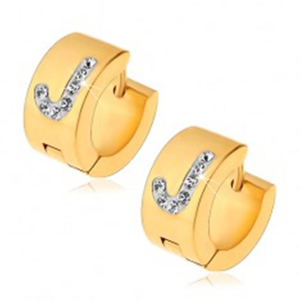 Šperky eshop Kĺbové náušnice z ocele 316L zlatej farby, biele písmeno J s čírymi zirkónikmi
