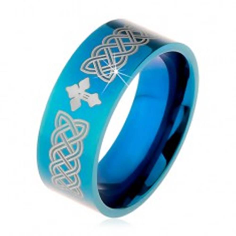 Šperky eshop Lesklá obrúčka z ocele 316L, modrá farba, keltské symboly a kríž, 8 mm - Veľkosť: 57 mm