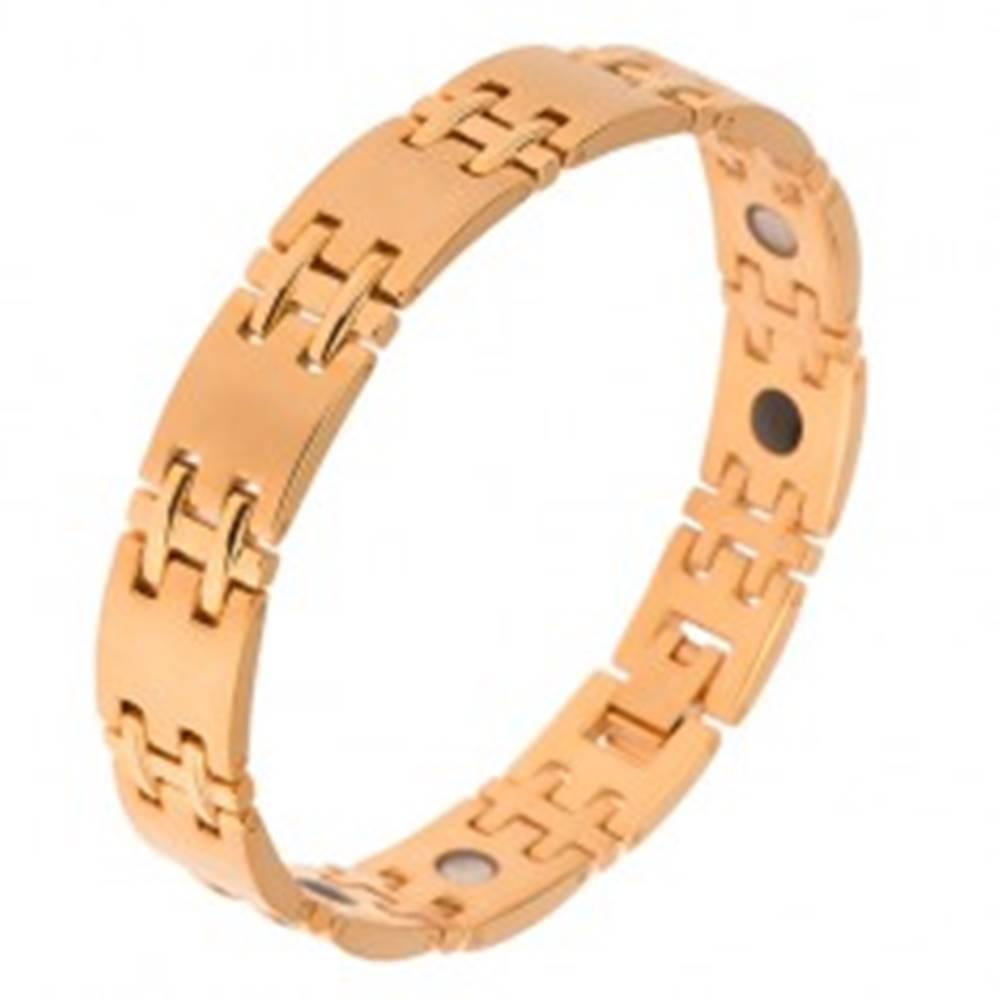 Šperky eshop Matný náramok z chirurgickej ocele, zlatá farba, lesklé H spoje, magnety