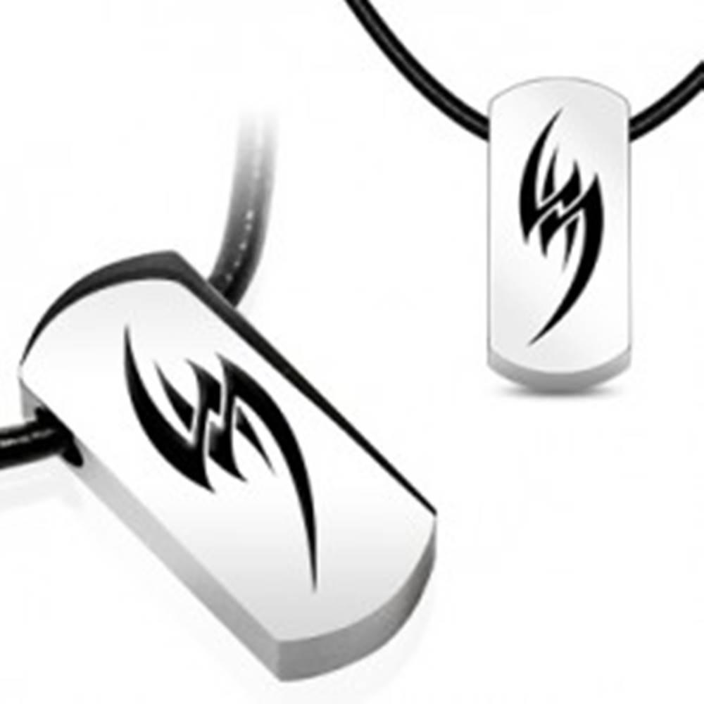 Šperky eshop Náhrdelník na gumenej šnúrke - oceľový tribal symbol