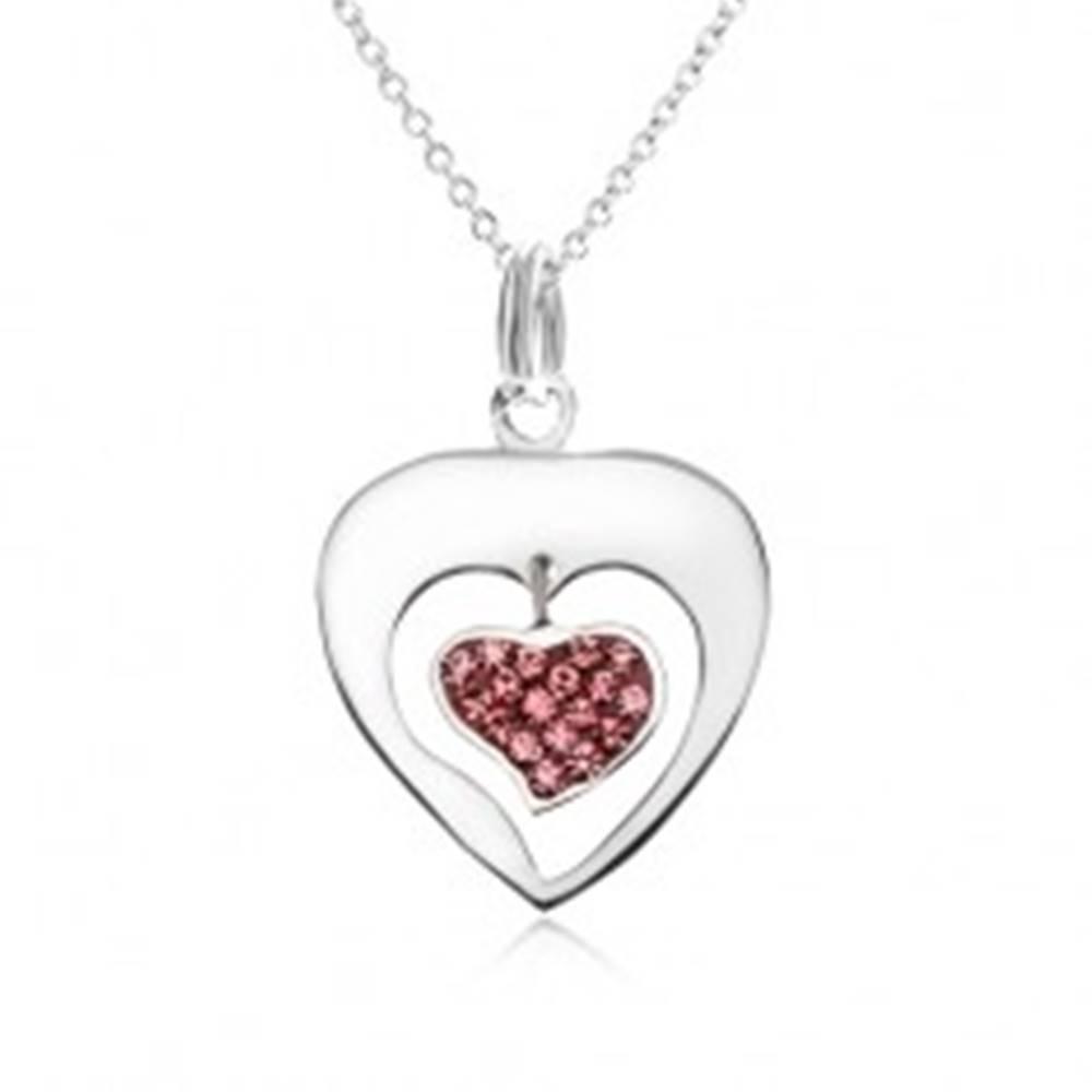 Šperky eshop Náhrdelník - retiazka, obrys srdca, srdce, ružové zirkóniky, striebro 925