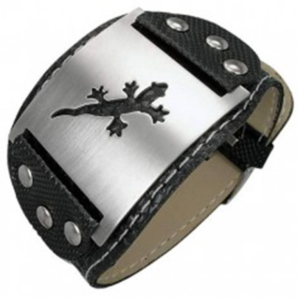 Šperky eshop Náramok z imitácie kože s nitmi a jaštericou