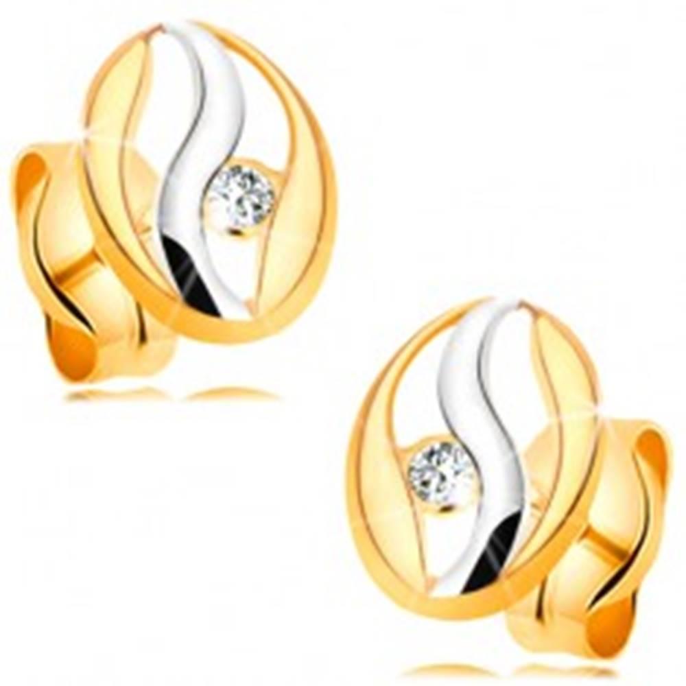 Šperky eshop Náušnice v kombinovanom 14K zlate - obrys oválu s vlnkou z bieleho zlata, zirkónik